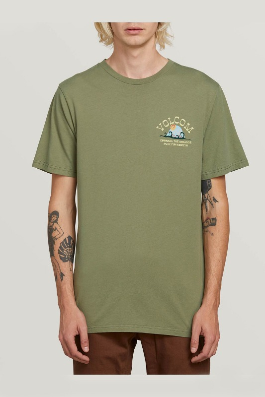 [VOLCOM] MEN'S NATURAL FUN S/S TEE - DUSTY GREEN